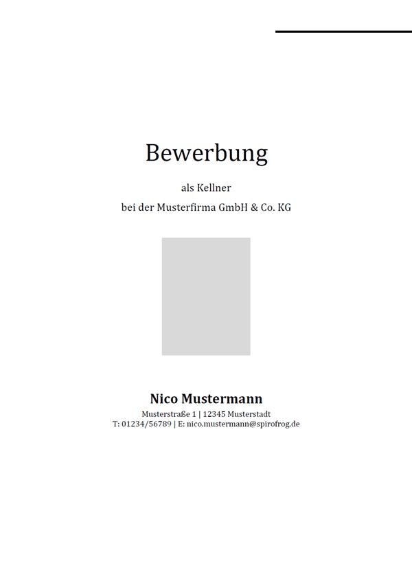 Vorlage / Muster: Bewerbungsdeckblatt Kellner / Kellnerin