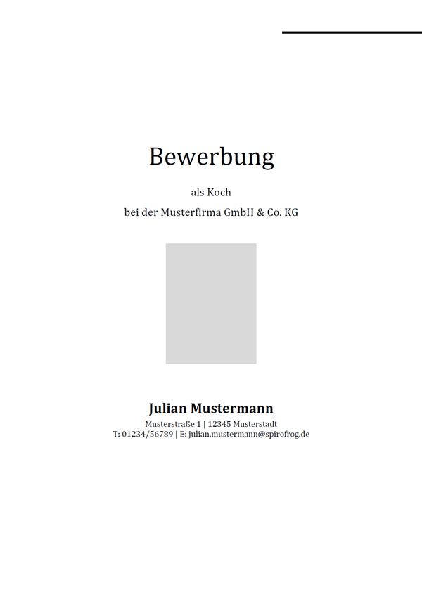Vorlage / Muster: Bewerbungsdeckblatt Koch / Köchin