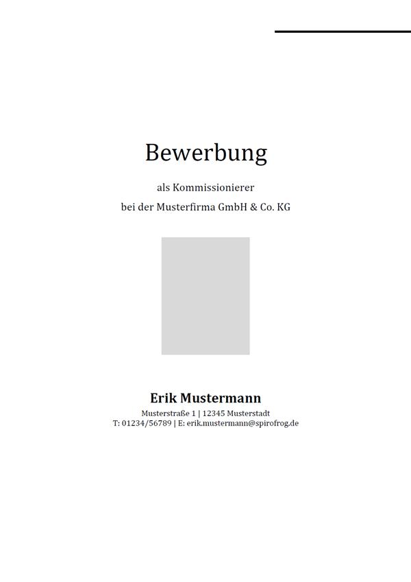 Vorlage / Muster: Bewerbungsdeckblatt Kommissionierer / Kommissioniererin