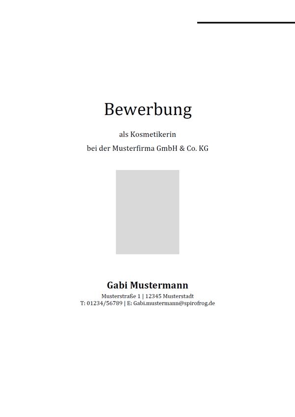 Vorlage / Muster: Bewerbungsdeckblatt Kosmetiker / Kosmetikerin