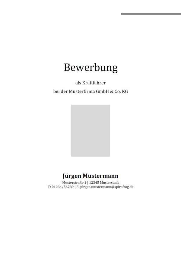 Vorlage / Muster: Bewerbungsdeckblatt Kraftfahrer / Kraftfahrerin