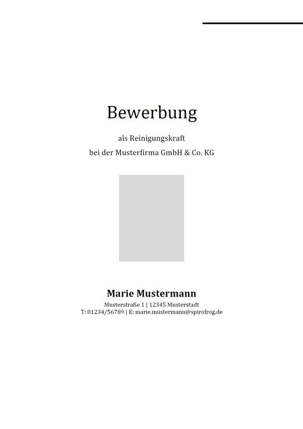 Vorlage / Muster: Bewerbungsdeckblatt Reinigungskraft