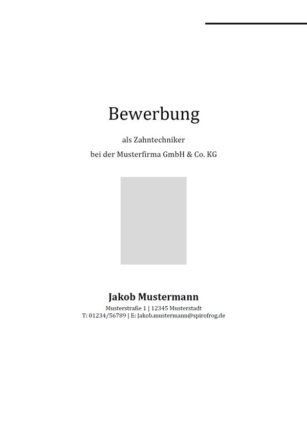 Vorlage / Muster: Bewerbungsdeckblatt Zahntechniker / Zahntechnikerin