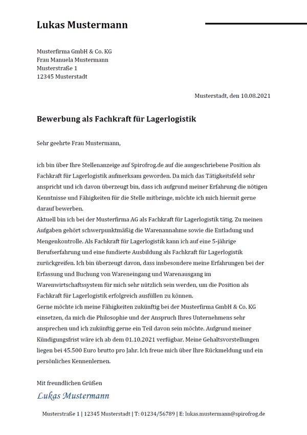 Vorlage / Muster: Bewerbungsschreiben Fachkraft für Lagerlogistik