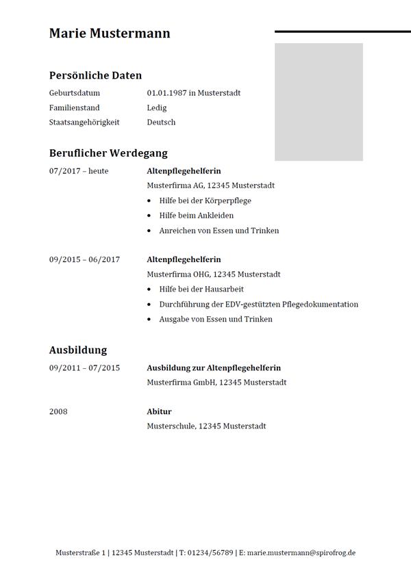 Vorlage / Muster: Lebenslauf Altenpflegehelfer / Altenpflegehelferin