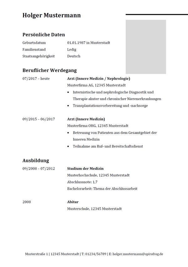 Vorlage / Muster: Lebenslauf Arzt / Ärztin