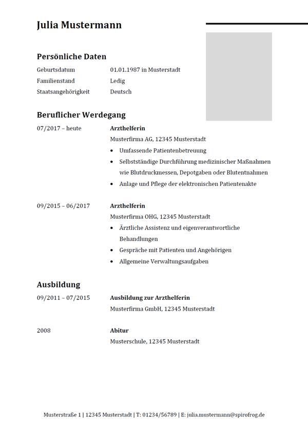 Vorlage / Muster: Lebenslauf Arzthelfer / Arzthelferin