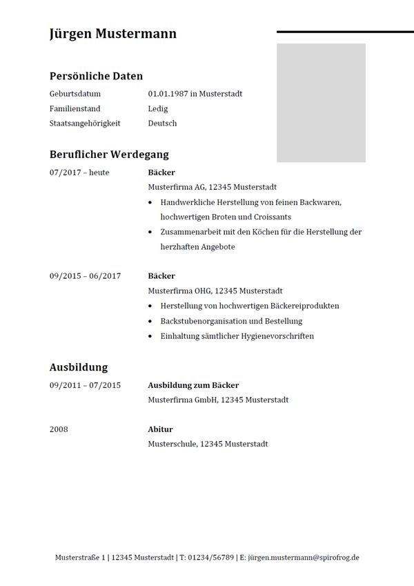 Vorlage / Muster: Lebenslauf Bäcker / Bäckerin