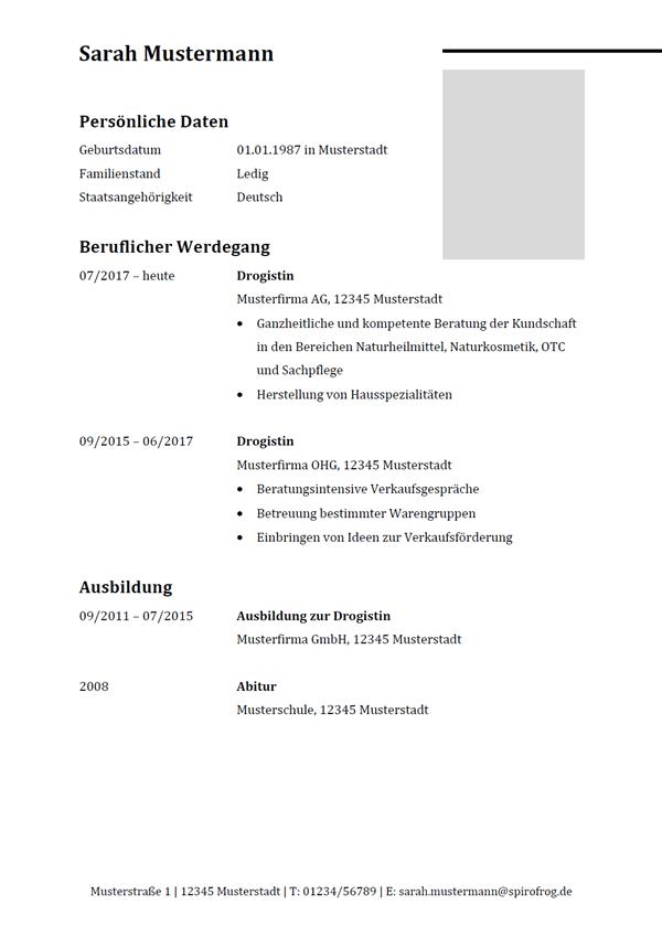 Vorlage / Muster: Lebenslauf Drogist / Drogistin