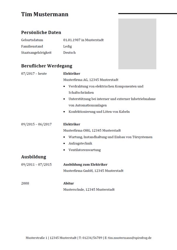 Vorlage / Muster: Lebenslauf Elektriker / Elektrikerin
