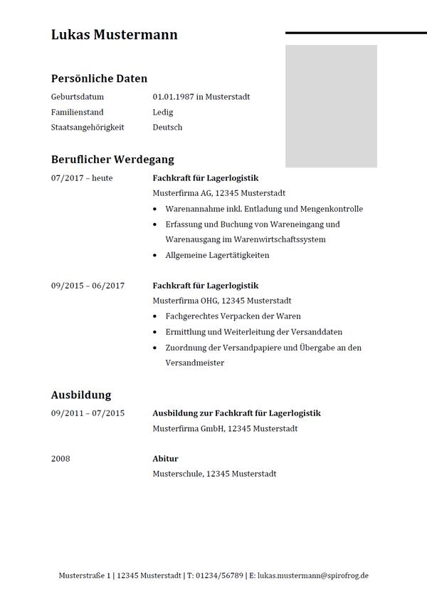 Vorlage / Muster: Lebenslauf Fachkraft für Lagerlogistik