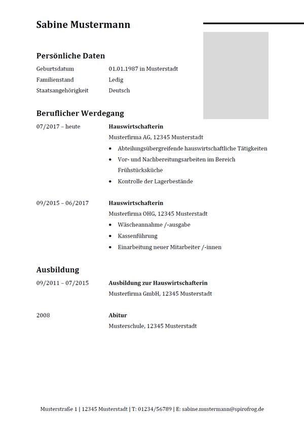 Vorlage / Muster: Lebenslauf Hauswirtschafter / Hauswirtschafterin