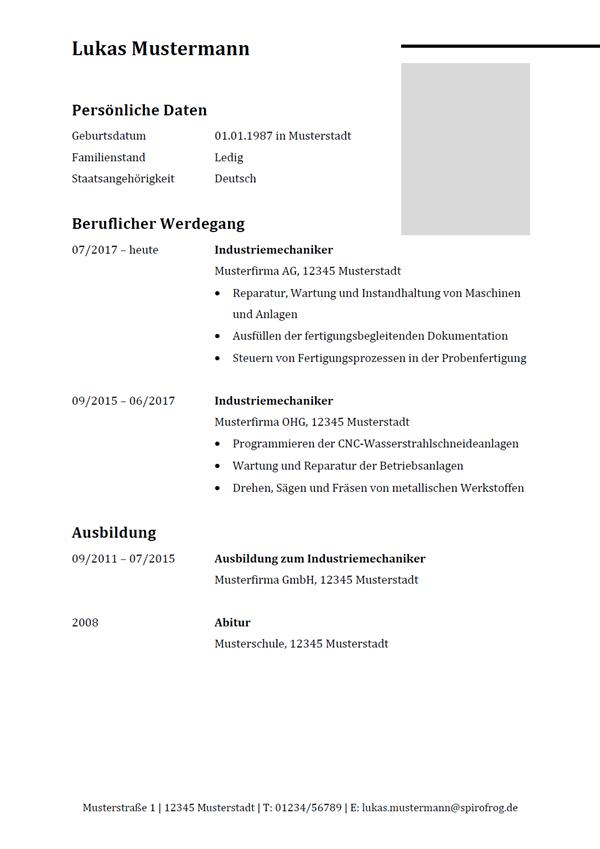 Vorlage / Muster: Lebenslauf Industriemechaniker / Industriemechanikerin
