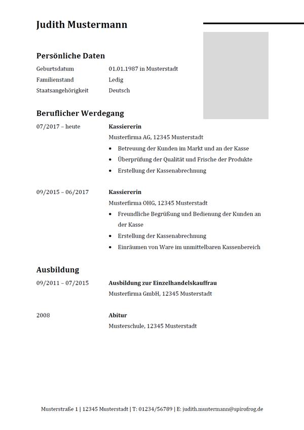 Vorlage / Muster: Lebenslauf Kassierer / Kassiererin