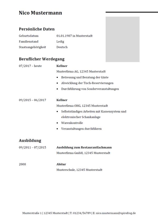 Vorlage / Muster: Lebenslauf Kellner / Kellnerin