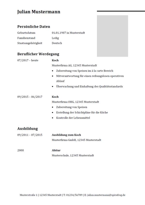 Vorlage / Muster: Lebenslauf Koch / Köchin