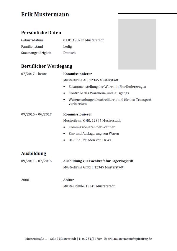 Vorlage / Muster: Lebenslauf Kommissionierer / Kommissioniererin