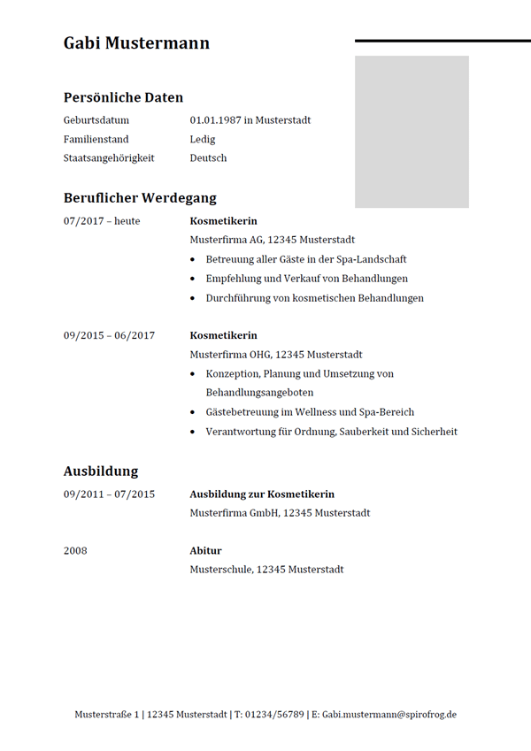 Vorlage / Muster: Lebenslauf Kosmetiker / Kosmetikerin
