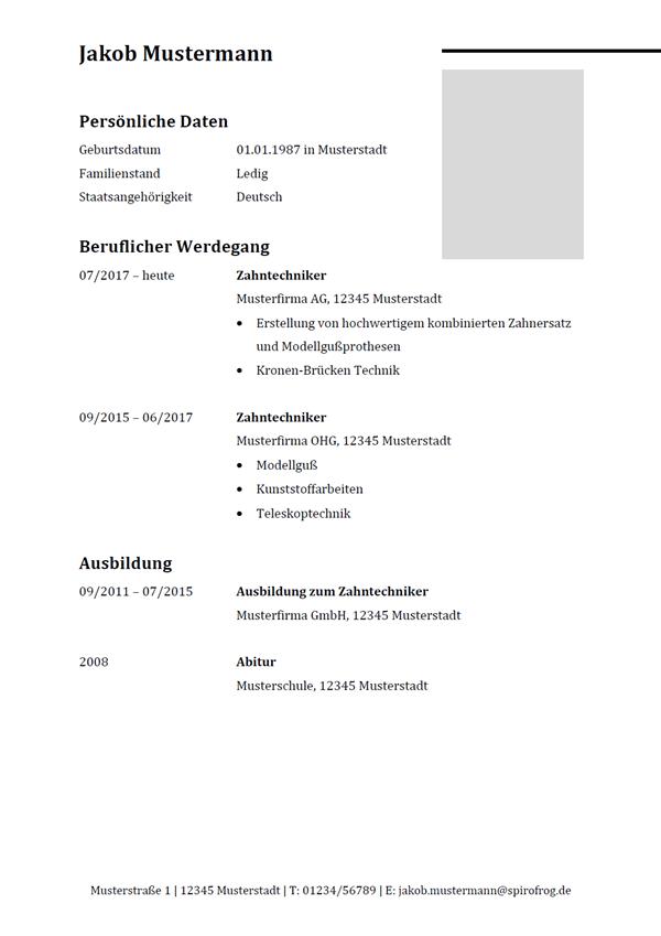 Vorlage / Muster: Lebenslauf Zahntechniker / Zahntechnikerin